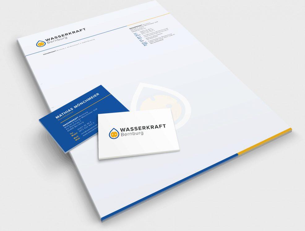Briefkopf und Visitenkarten für  Wasserkraft Bernburg