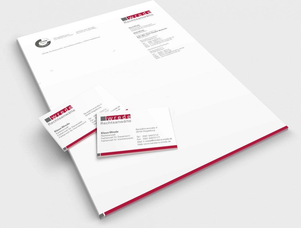 Briefkopf und Visitenkarten für  WREDE Rechtsanwälte