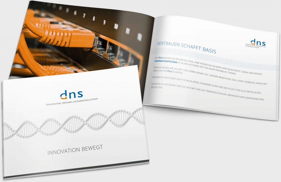 Broschüre für  dns Datentechnik, Netzwerk und Systemhaus GmbH