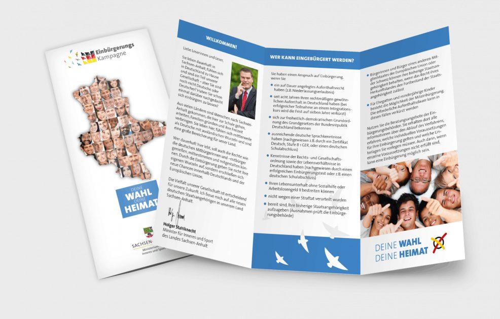 Faltblatt der Einbürgerungskampagne für  Ministerium für Inneres und Sport des Landes Sachsen-Anhalt