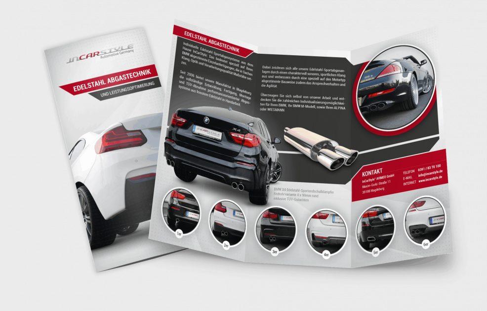 Faltblatt für  InCarStyle AVIMEO GmbH