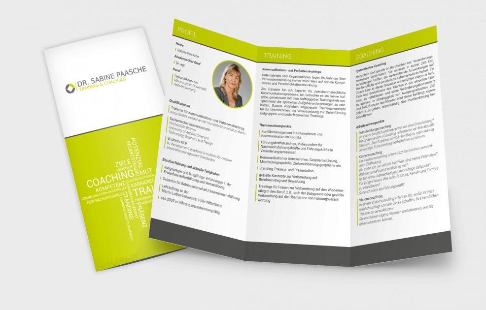 Faltblatt für  Dr. Sabine Paasche – Training & Coaching