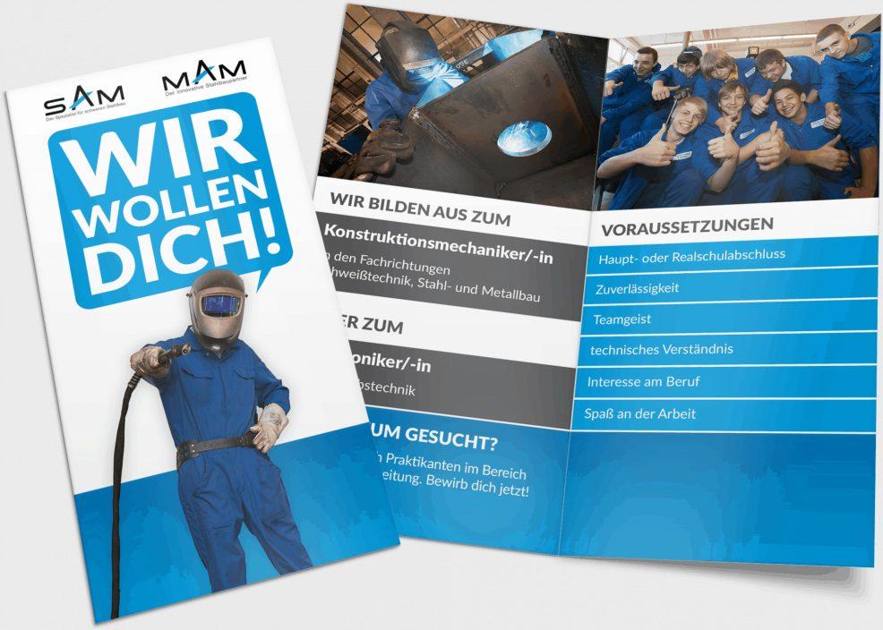 Faltblatt für  SAM MAM Ausbildungsverbund