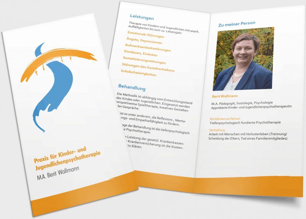 Faltblatt für  Praxis für Kinder- und Jugendlichenpsychotherapie, Berit Wallmann