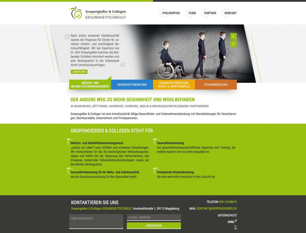Webdesign und Programmierung für  Gropengießer & Collegen Gesundheitsconsult