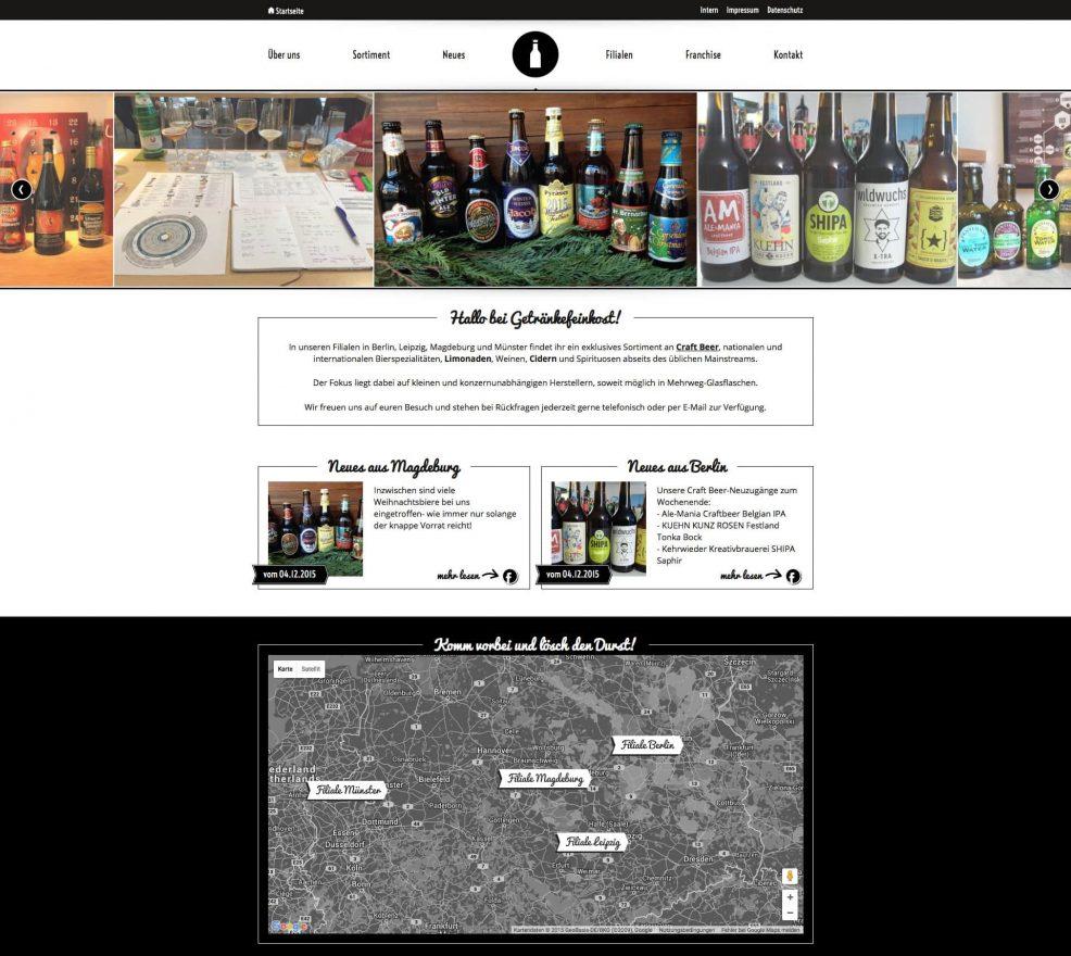 Webdesign und Programmierung für  Getränkefeinkost GmbH