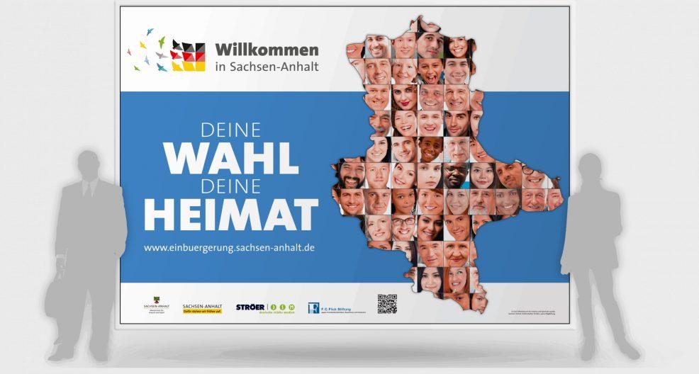 Großplakat der Einbürgerungskampagne für  Ministerium für Inneres und Sport des Landes Sachsen-Anhalt