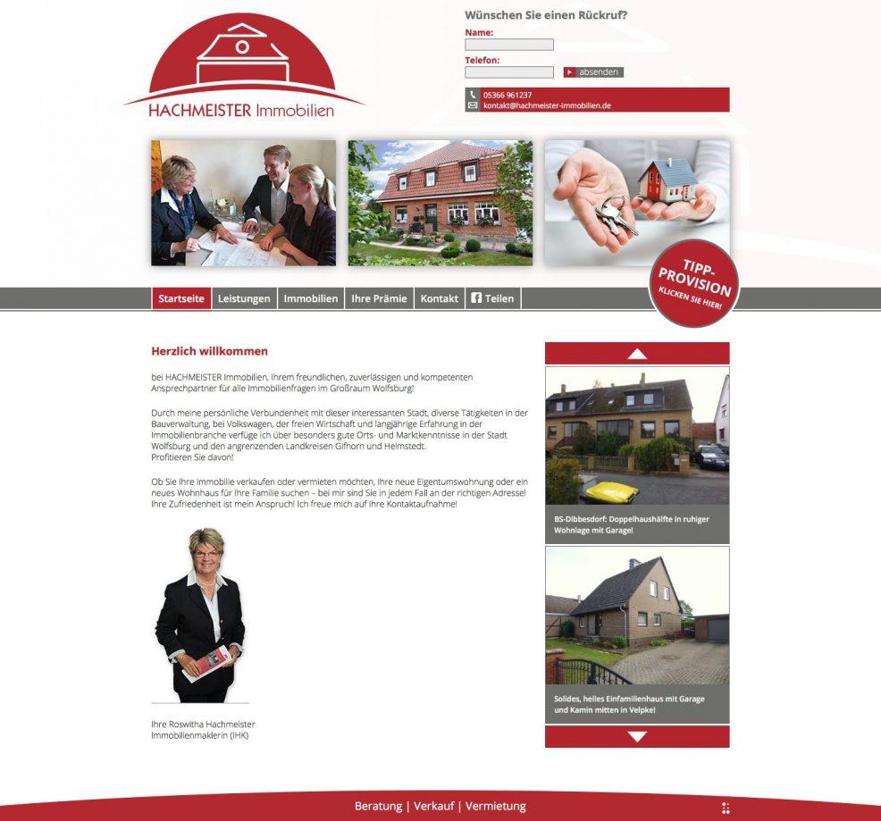 Webdesign und Programmierung für  Hachmeister Immobilien