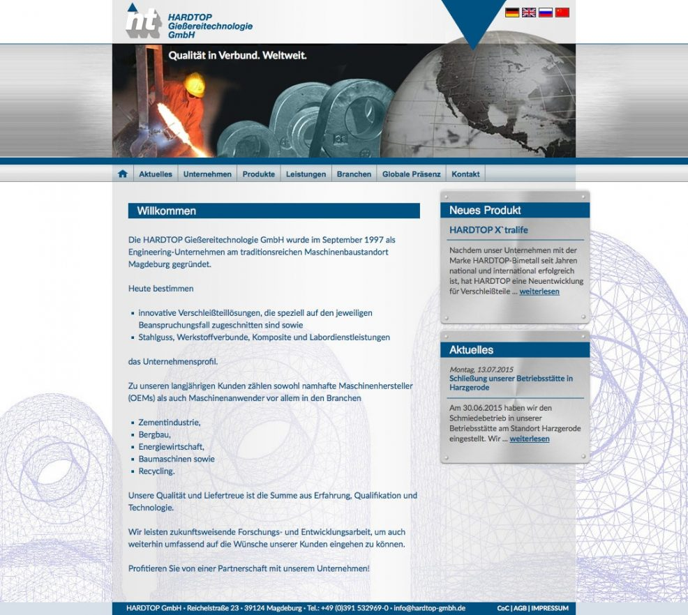 Webdesign und Programmierung für  HARDTOP Gießereitechnologie GmbH