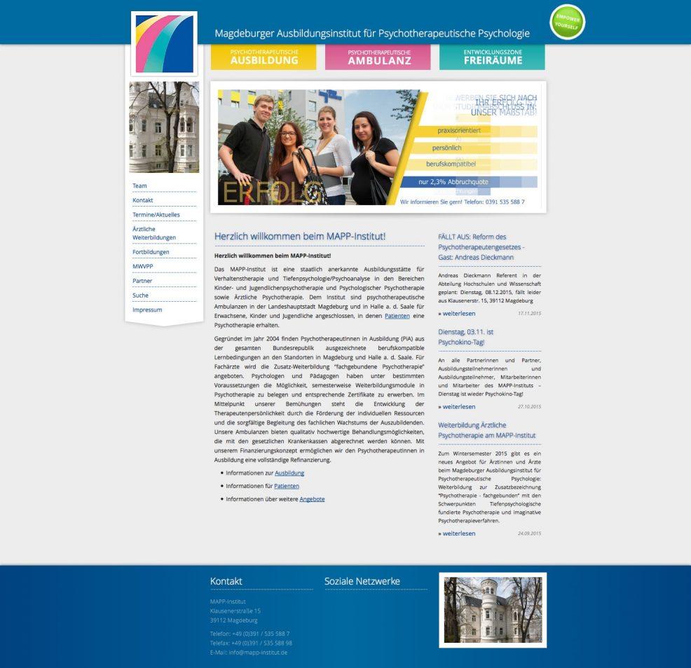 Webdesign für  MAPP-Institut GmbH & Co. KG