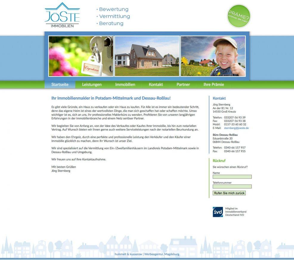 Webdesign und Programmierung für  JöSte Immobilien – Jörg Sternberg
