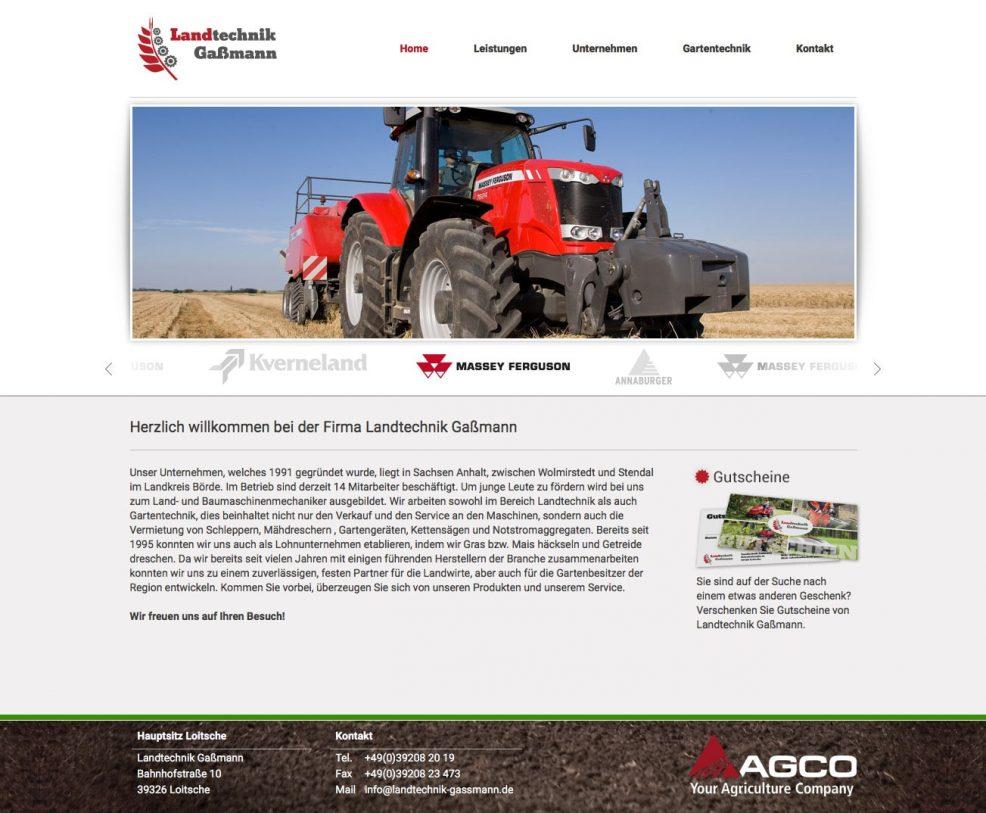 Webdesign und Programmierung für  Landtechnik Gaßmann GmbH