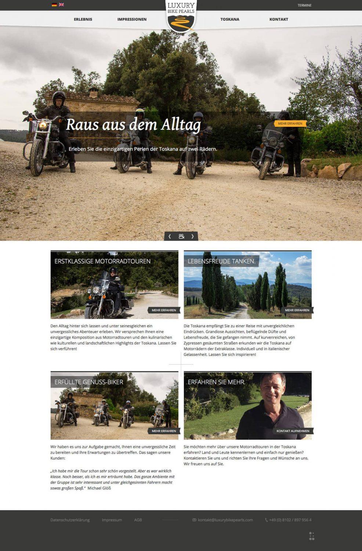 Webdesign und Programmierung für  Luxury Bike Pearls