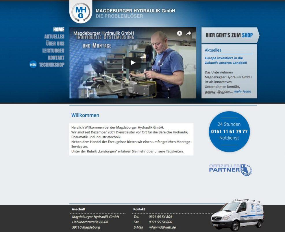 Webdesign und Programmierung für  Magdeburger Hydraulik GmbH