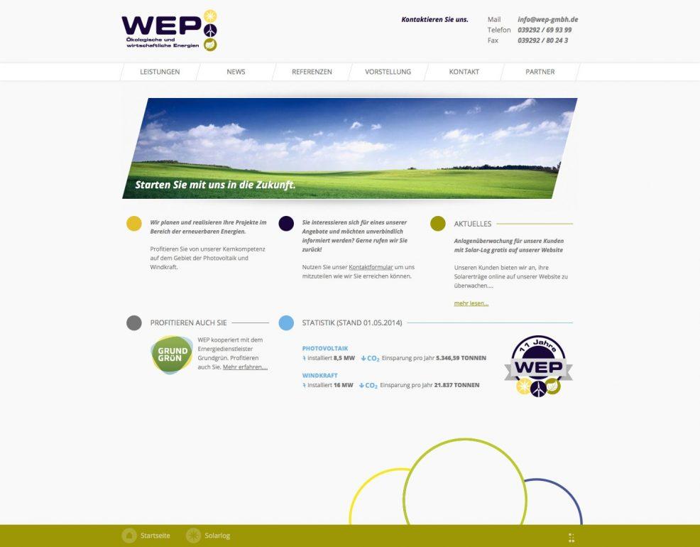 Webdesign und Programmierung für  WEP GmbH