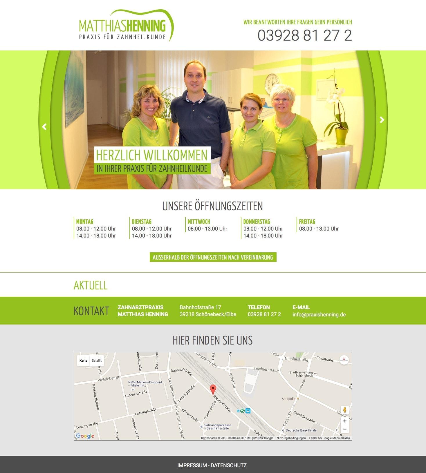 Webdesign und Programmierung für  Praxis für Zahnheilkunde Matthias Henning