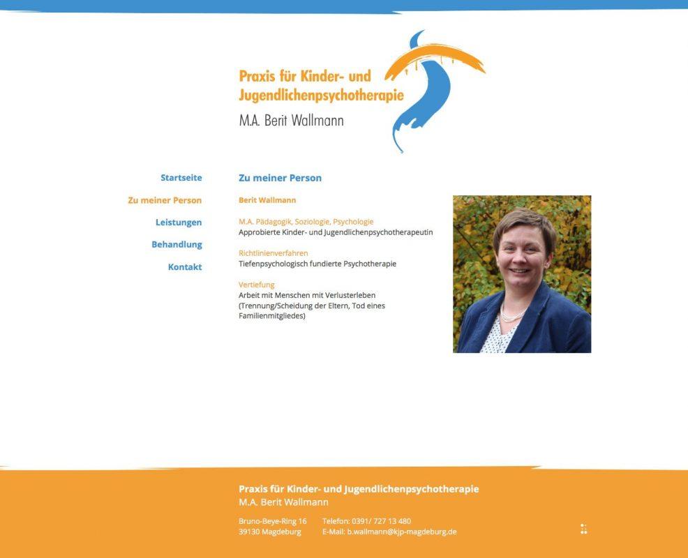 Webdesign und Programmierung für  Praxis für Kinder- und Jugendlichenpsychotherapie, Berit Wallmann