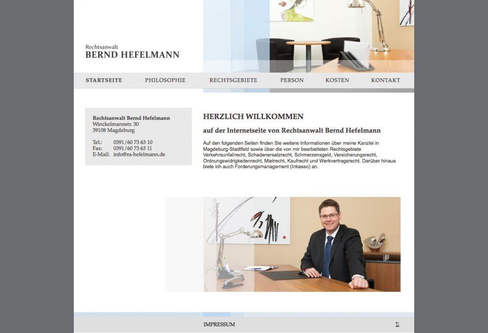 Webdesign und Programmierung für  Rechtsanwalt Bernd Hefelmann