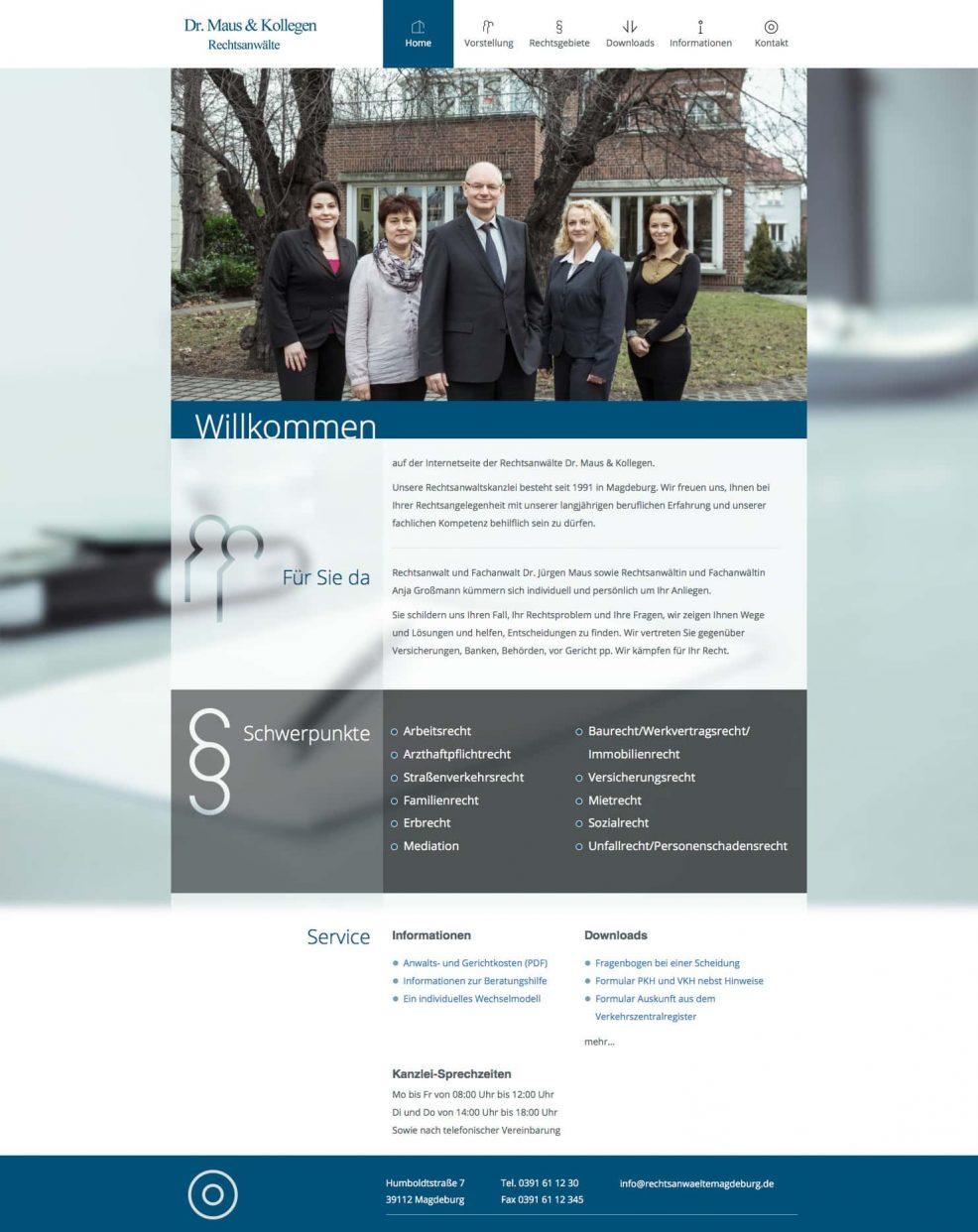 Webdesign und Programmierung für  Rechtsanwälte Dr. Maus & Kollegen