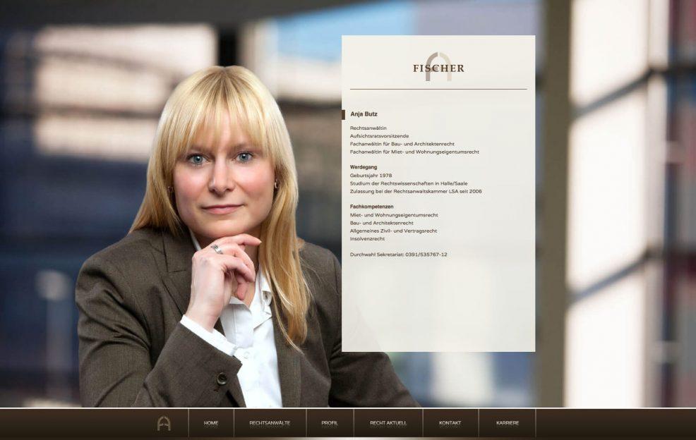 Webdesign und Programmierung für  Fischer Rechtsanwalts AG