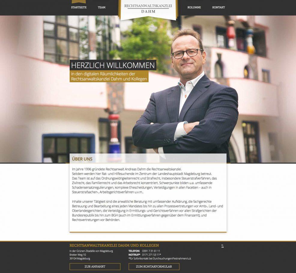Webdesign und Programmierung für  Rechtsanwaltskanzlei Dahm und Kollegen
