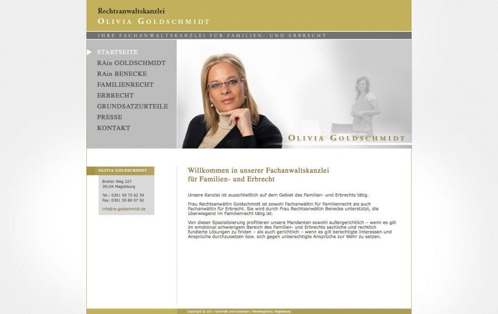 Webdesign und Programmierung für  Rechtsanwaltskanzlei Oliva Goldschmidt