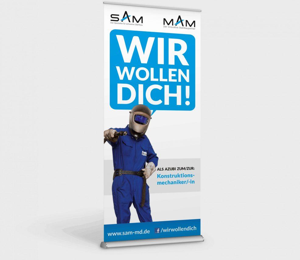 Rollup-Display für  SAM MAM Ausbildungsverbund