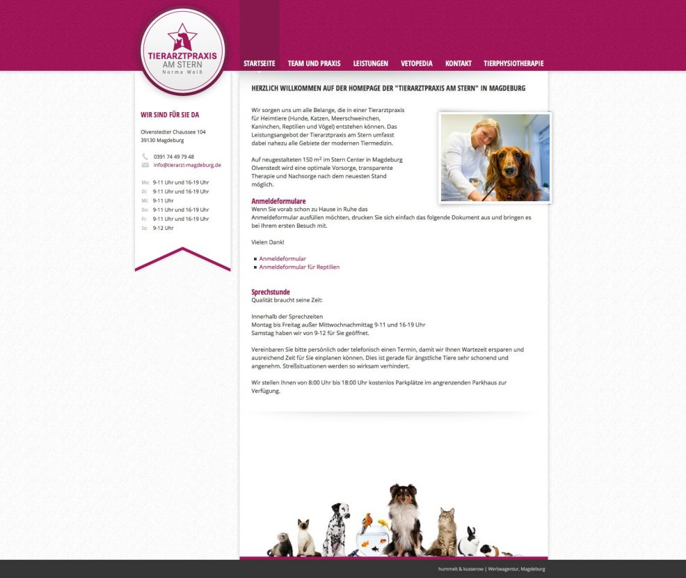 Webdesign und Programmierung für  Tierarztpraxis am Stern, Norma Weiß