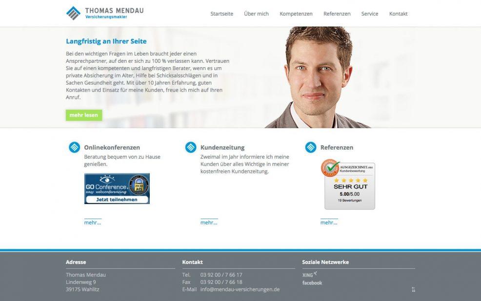 Webdesign und Programmierung für  Versicherungsmakler Thomas Mendau