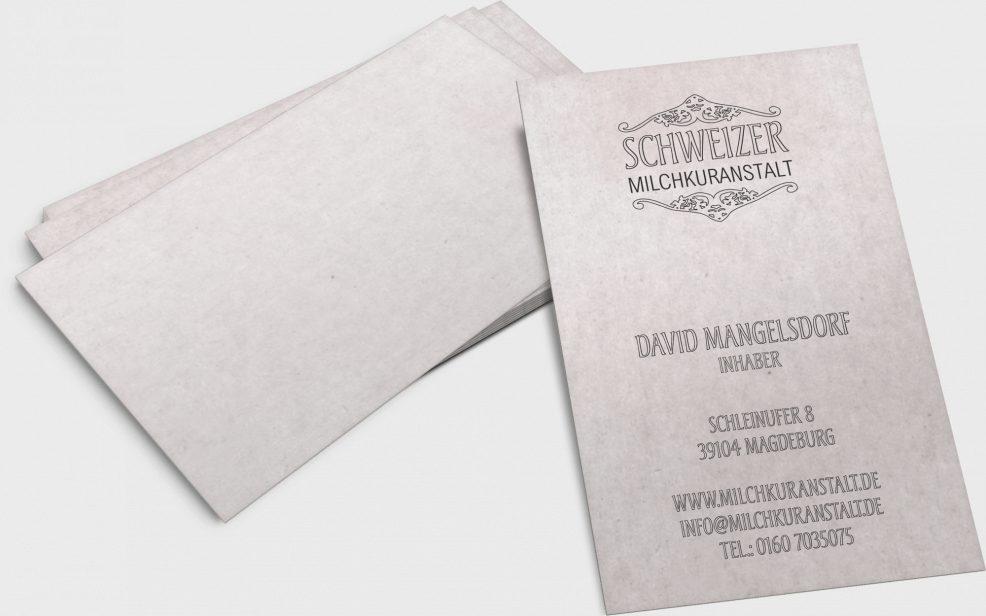 Visitenkarten für  Schweizer Milchkuranstalt Fürstenwall Biergarten