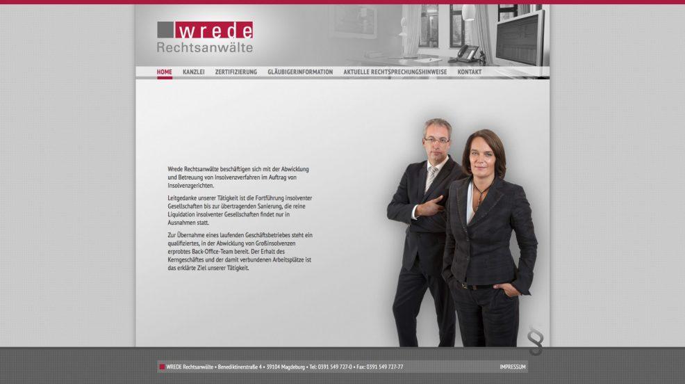 Webdesign und Programmierung für  WREDE Rechtsanwälte
