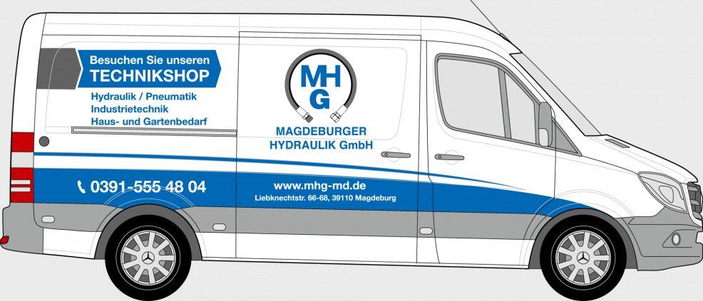 Fahrzeugbeschriftung für  Magdeburger Hydraulik GmbH
