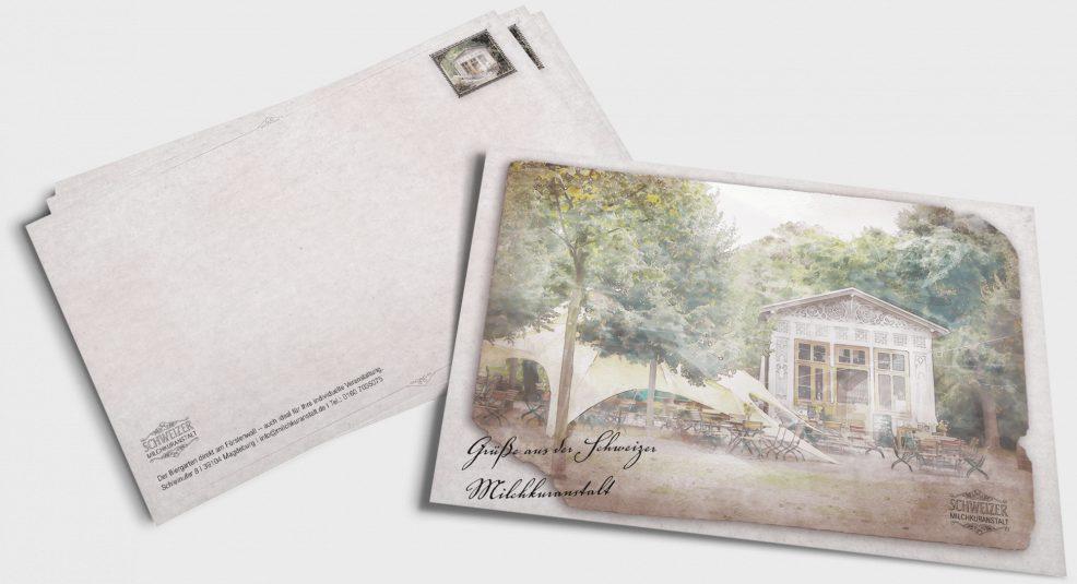 Postkarte für  Schweizer Milchkuranstalt Fürstenwall Biergarten