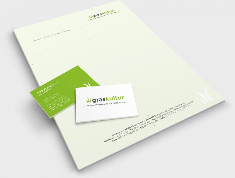 Briefbogen und Visitenkarten für  graskultur