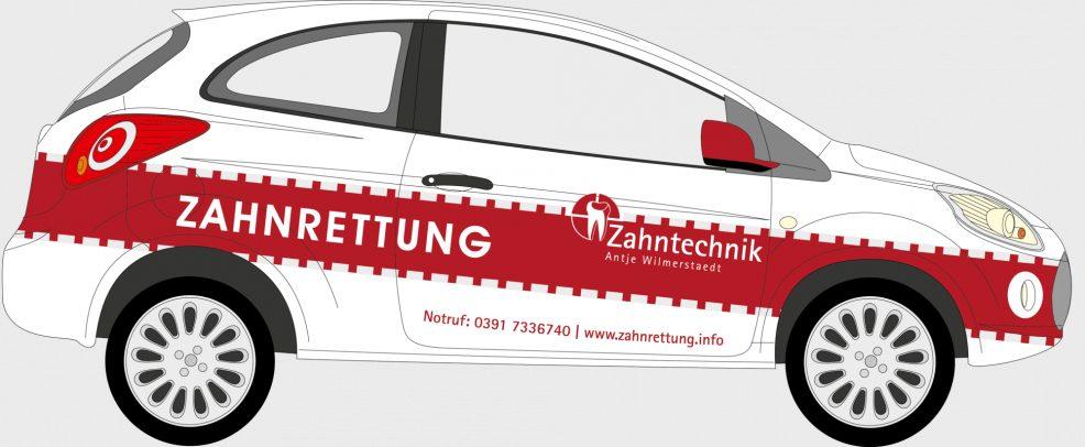 Fahrzeugbeschriftung für  Zahntechnik Antje Wilmerstaedt