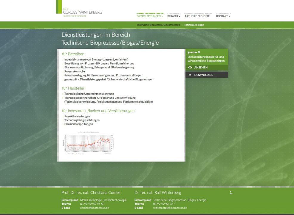 Webdesign und Programmierung für  Cordes + Winterberg – Büro für technische Bioprozesse
