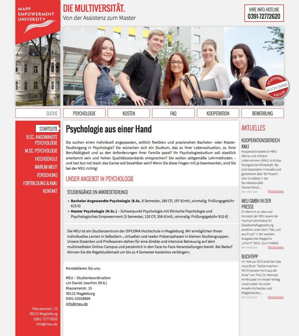 Webdesign und Programmierung für  MEU GmbH & Co. KG