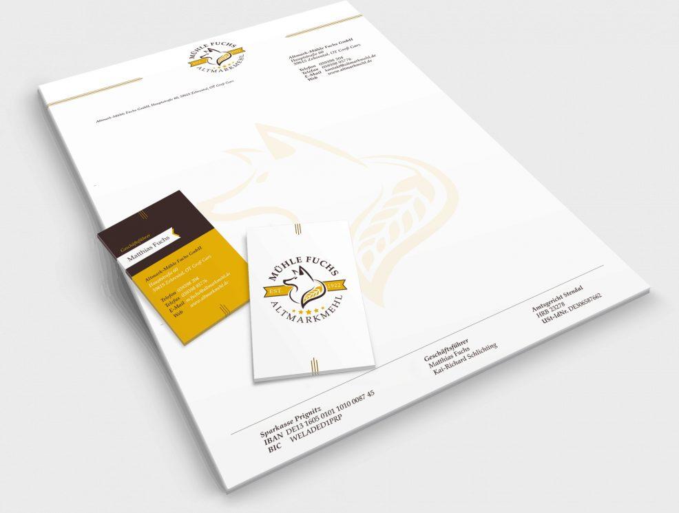 Briefbogen und Visitenkarten für  Altmark-Mühle Fuchs GmbH