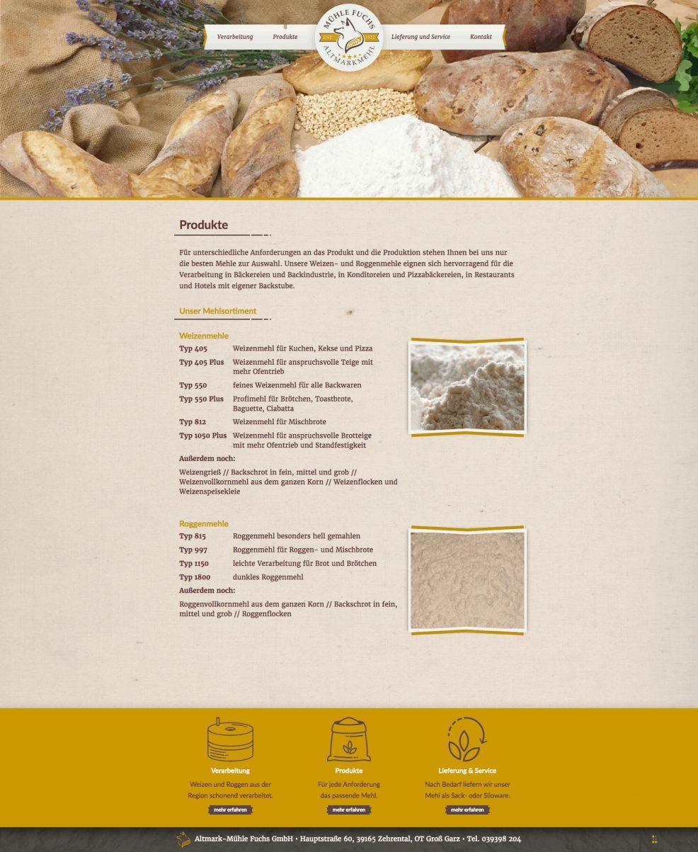 Webdesign und Programmierung für  Altmark-Mühle Fuchs GmbH