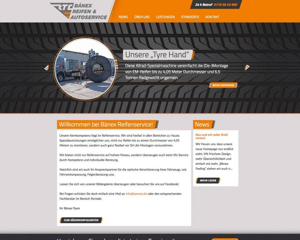Webdesign und Programmierung für  BÄNEX Reifen- und Fahrzeug- Handel und Service GmbH