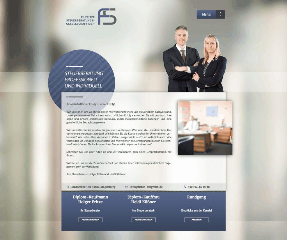 Webdesign und Programmierung für  FS Fritze Steuerberatungsgesellschaft mbH