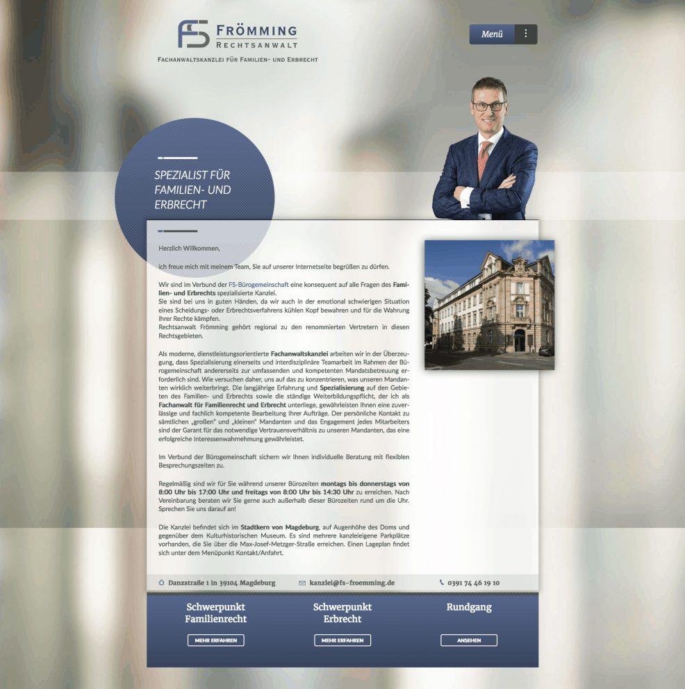 Webdesign und Programmierung für  Rechtsanwalt Gerd Frömming