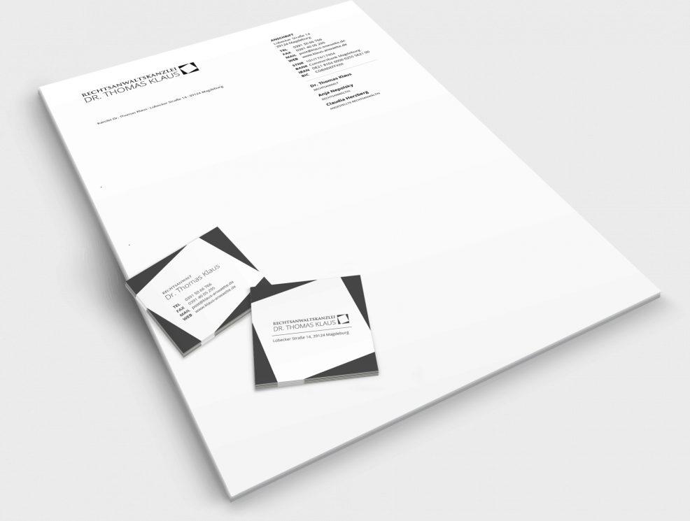 Briefbogen und Visitenkarten für  Rechtsanwaltskanzlei Dr. Thomas Klaus