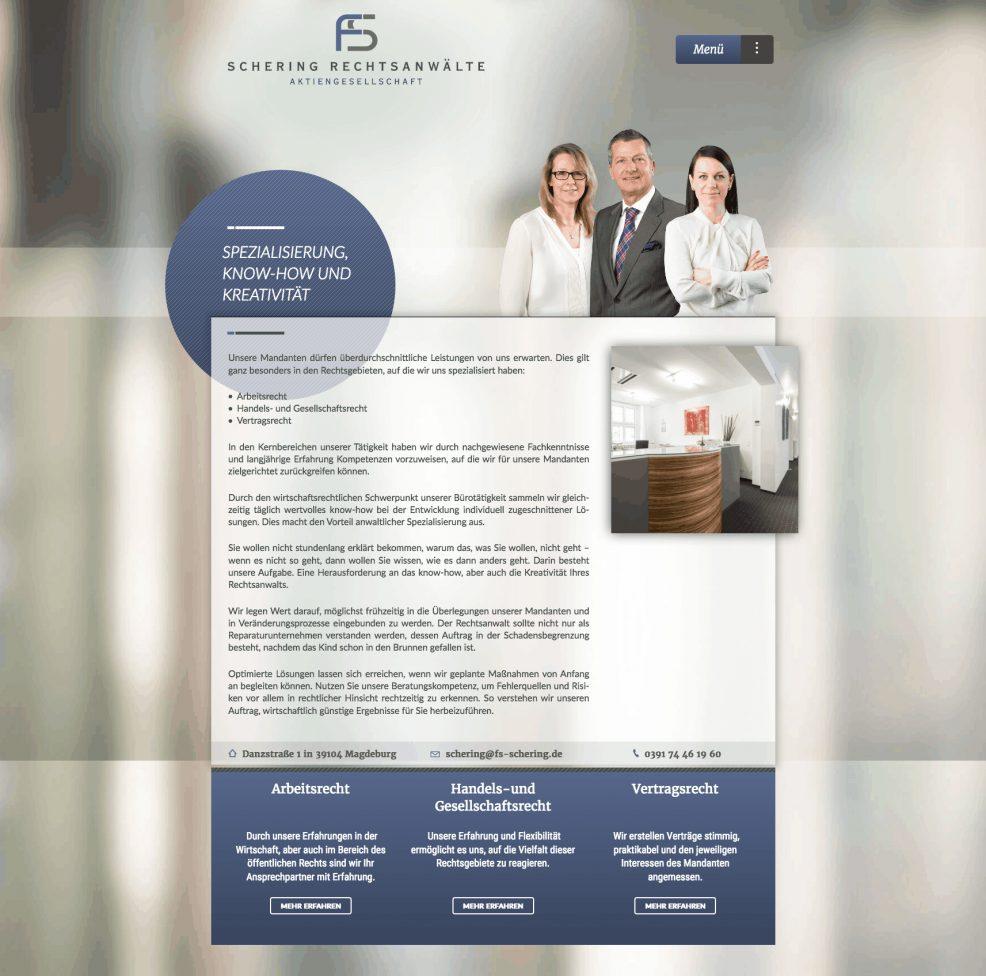 Webdesign und Programmierung für  FS-Schering Rechtsanwälte AG