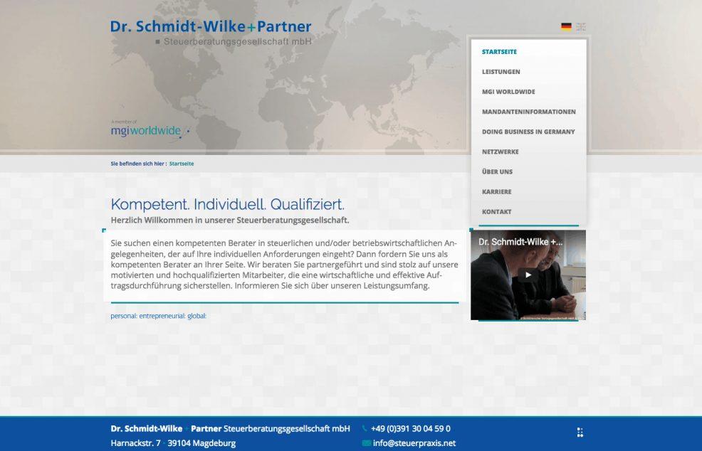 Webdesign + Programmierung für  Dr. Schmidt-Wilke + Partner Steuerberatungsgesellschaft mbH