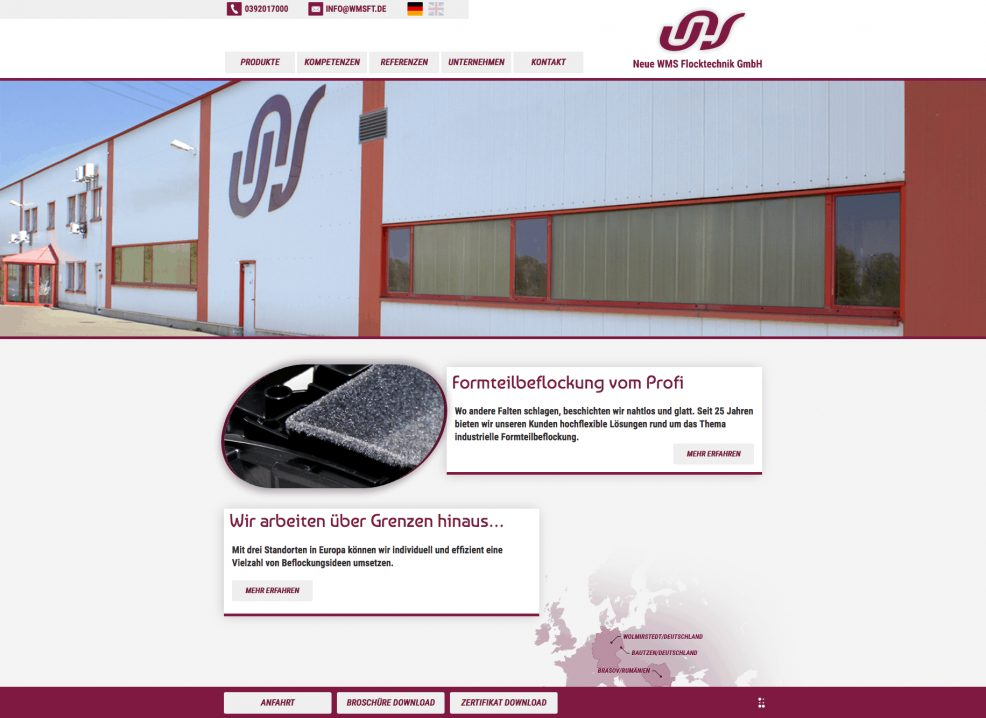 Webdesign + Programmierung für  Neue WMS Flocktechnik GmbH