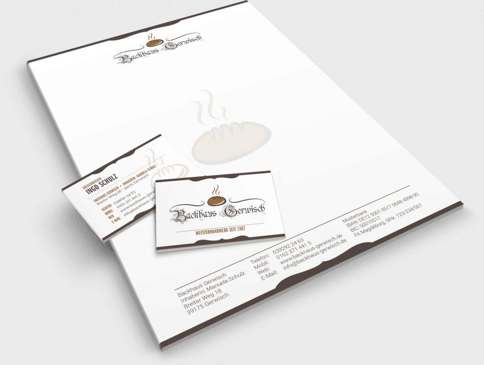 Briefbogen + Visitenkarten für  Backhaus Gerwisch