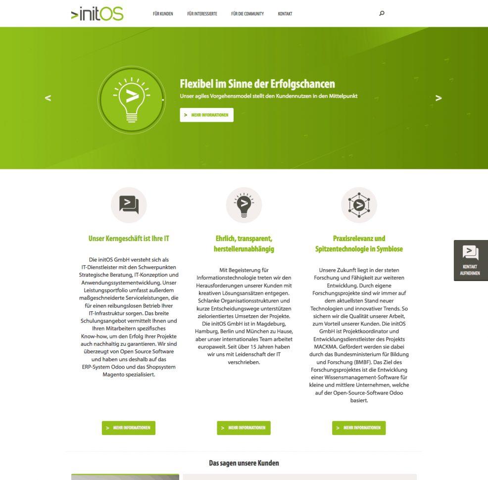 Webdesign + Programmierung für  initOS GmbH