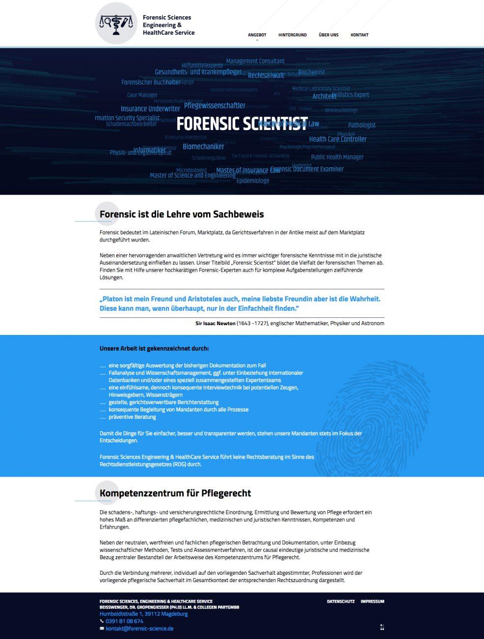 Webdesign + Programmierung für  Forensic Sciences Engineering & HealthCare Service