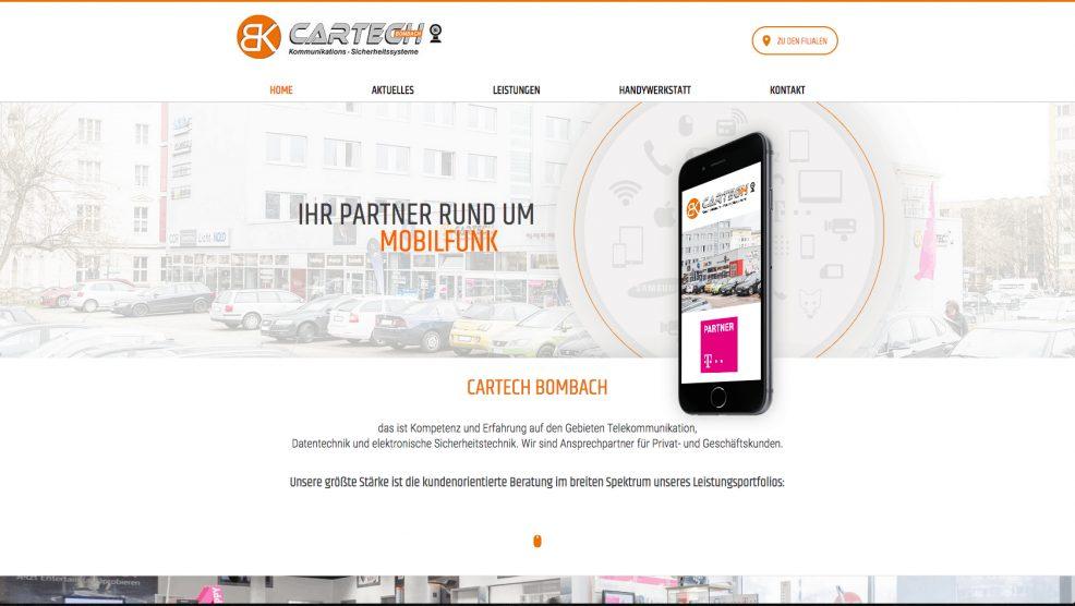 Webdesign + Programmierung für  Cartech D. Bombach GmbH & Co. KG
